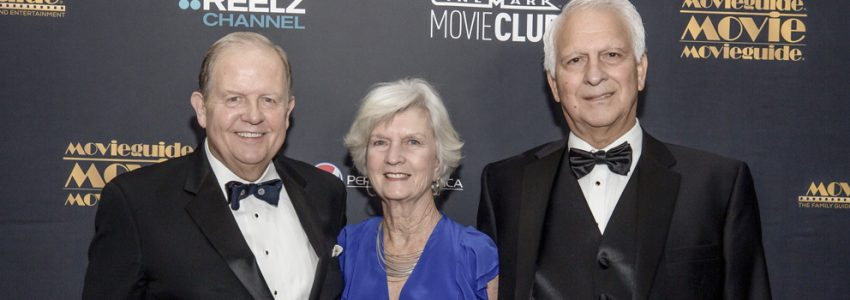 Ted Baehr, Bonnie Ally and Art Ally walking the Red Carpet at 2018 MovieGuide Awards focusing on a Christian perspective.