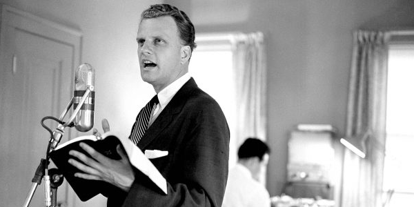 "In the wake of Billy Graham's evangelical crusades from the 1940s to the first decade of the 21st Century, the portion of the United States population identifying as ""evangelical Christian"" steadily grew."