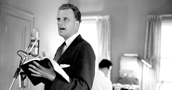 """In the wake of Billy Graham's evangelical crusades from the 1940s to the first decade of the 21st Century, the portion of the United States population identifying as """"evangelical Christian"""" steadily grew."""