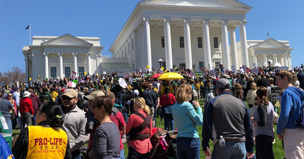 A large group of pro-life protesters in front of the Capitol.