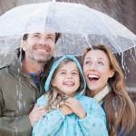 Family under an umbrella